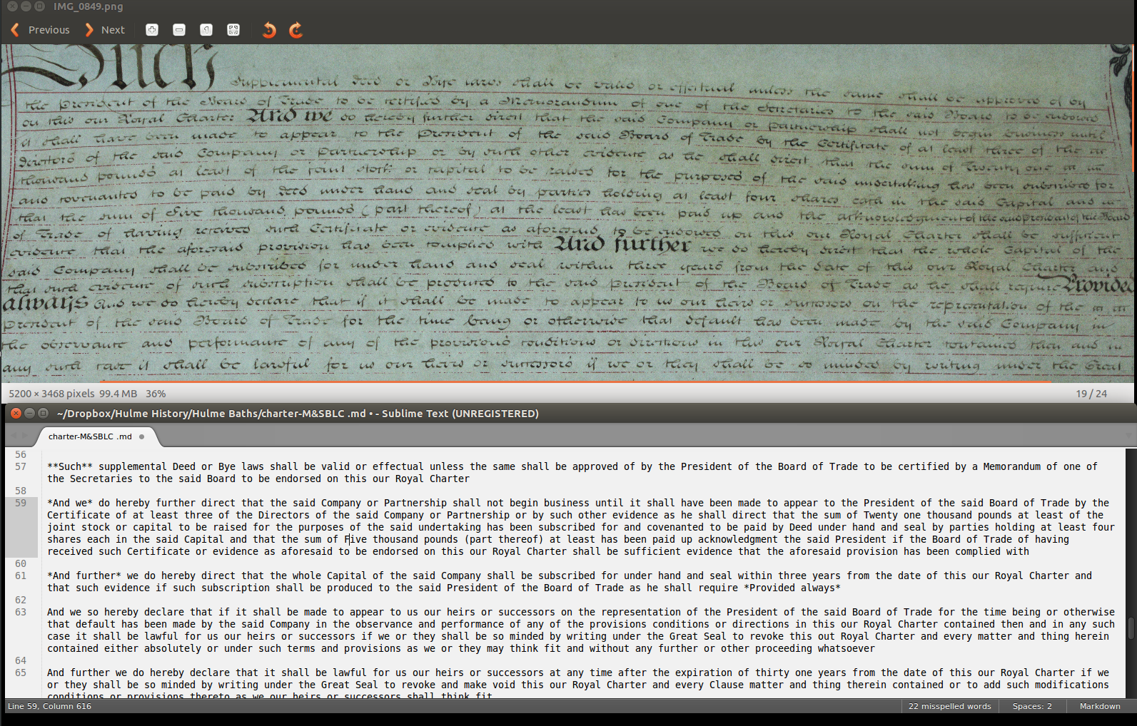 Screenshot showing Charter and transcription