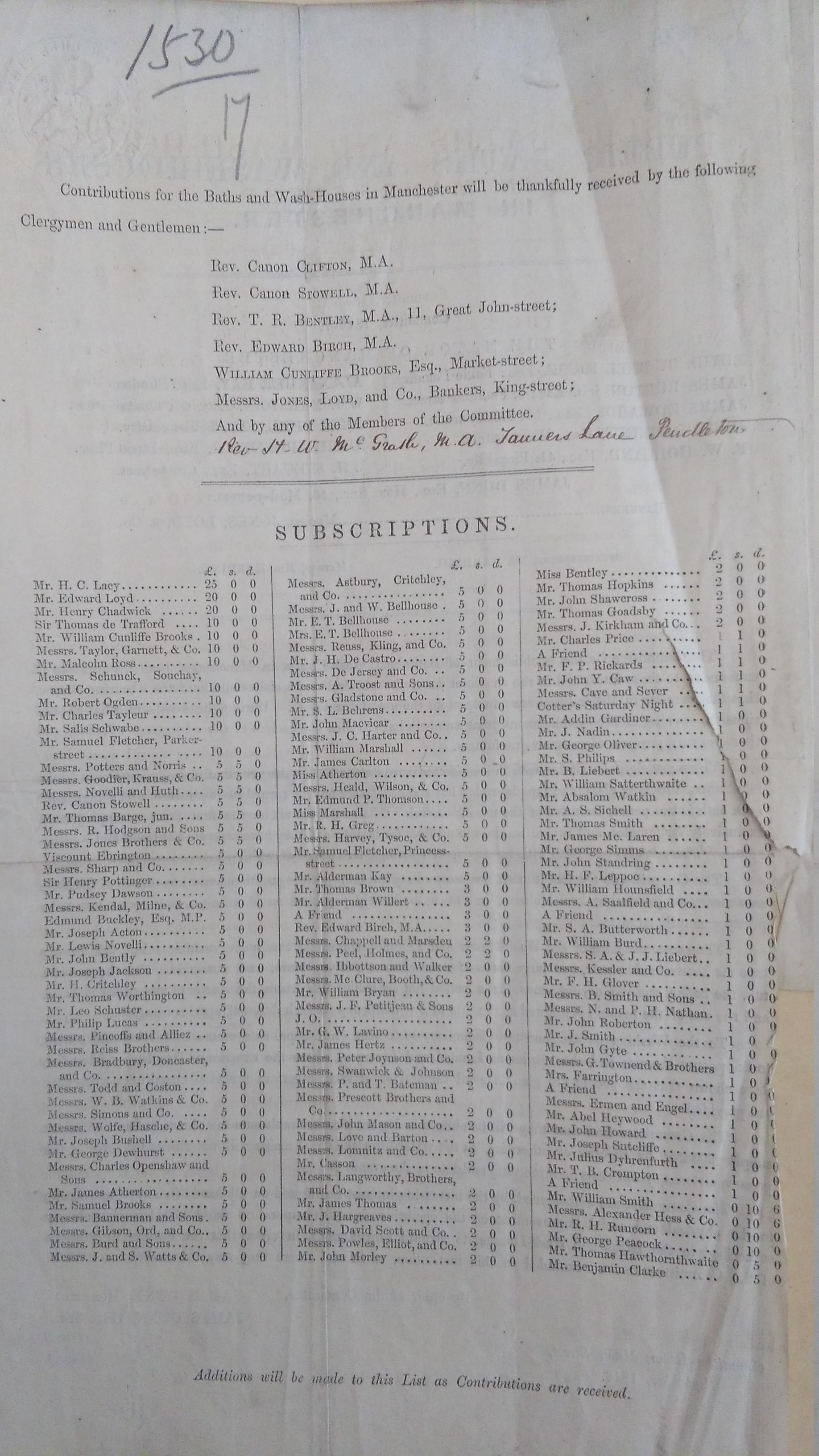Miller Street baths subscription list